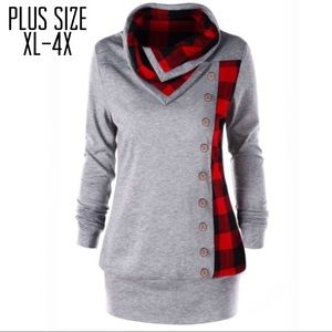 Sweaters - Plus Size Plaid Cowl Neck Sweater